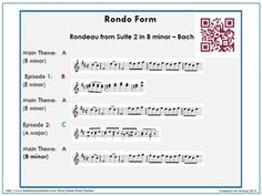 An excellent teaching resource explaining THREE of the most common forms in music; 1 Binary 2 Ternary 3 Rondo QR codes lead to music examples #musiceducation #musedchat