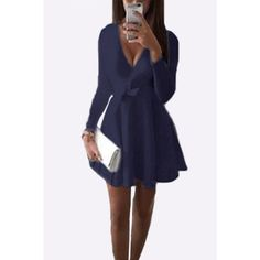 Yoins Dark Blue V-neck Sweetheart Mini Dress with Belts ($20) ❤ liked on Polyvore featuring dresses, blue, long sleeve dresses, short blue dresses, long sleeve mini dress, short fitted dresses and long sleeve flare dress