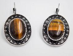 Stones earrings, tiger eye earrings, Romantic jewelry, Bohemian earrings, Gifts for her, safe bijoux, boho chic bijoux by wikandah on Etsy