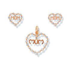 9CT Gold Mum Earrings and Pendant Set