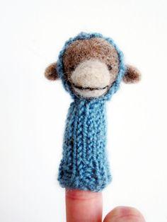 NEW Finger Puppet Soft Toy  MONKEY needle felted by LazyAnimals, $38.00
