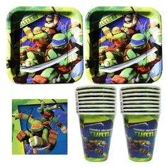 832 Teenage Mutant Ninja Turtles Birthday Party Set Party Supplies Pack for 16 guests - plates, cups, napkins Designware http://www.amazon.com/dp/B00F7O9014/ref=cm_sw_r_pi_dp_anK3ub1SD0KK6