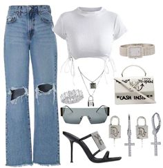 Sneakers Fashion Outfits, Swag Outfits, Stylish Outfits, Cool Outfits, Polyvore Outfits, Ripped Jeans Look, Collage Outfits, Look Fashion, Aesthetic Clothes