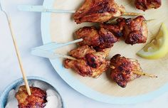 Looking for a chicken recipe? These chicken thighs are served as kebabs with a chile-yogurt sauce for a creamy flavor.