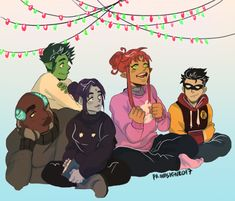 Cyborg, you ok? Teen Titans Raven, Teen Titans Go, Teen Titans Fanart, Dc Comics, Anime Comics, Raven Beast Boy, Original Teen Titans, Bbrae, Nightwing
