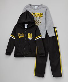 Look at this Black Basketball Zip-Up Hoodie Set - Infant, Toddler