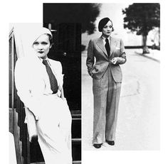 Marlene Dietrich in trouser suits - not white tie and tails but too gorgeous to ignore