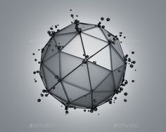 Low Poly Gray Sphere With Chaotic Structure.