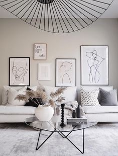 The objects on the coffee table and the object on the ceiling create asymmetrical balance throughout the space. Scandi Living Room, Home Decor Bedroom, Interior Design Living Room, Living Room Designs, Living Room Decor, Scandinavian Living, Living Rooms, Minimalist Scandinavian