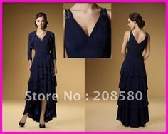 Online Shop Navy Blue Tiered Chiffon High-Low Hem Mother of the Bride Dresses With Jacket M1216|Aliexpress Mobile
