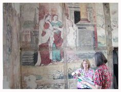 Hill Hall, Essex, wall painting of Cpid and Psyche, 1570s.  http://politicworm.files.wordpress.com/2009/06/hill-hall-cupid-psyche2.jpg