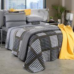 Kit: 1 Cobre-leito Casal + 2 Porta-travesseiros 150 fios - Enzo Cinza - Santista