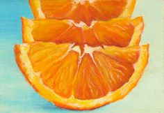 Giclee, Archival, Matted Print of an Original Oil Pastel Painting of Orange Slices on Etsy, $30.00