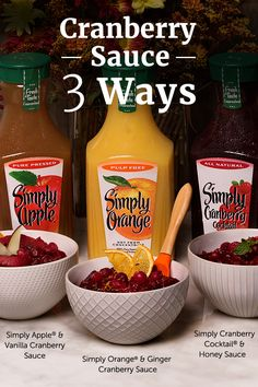 Make this Thanksgiving your sauciest yet with three beautifully simple takes on classic cranberry sauce! Cranberry Recipes, Cranberry Sauce, Cranberry Cocktail, Fall Recipes, Holiday Recipes, Great Recipes, Favorite Recipes, Holiday Meals, Apple Recipes