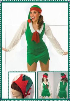 SANTA'S HELPER Christmas Elf Dress/Hat Ice Skating Dance Costume Child & Adult #Cicci