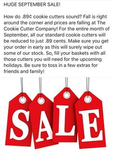 HUGE SEPTEMBER SALE! How do .89¢ cookie cutters sound? Fall is right around the… Discount Codes, Around The Corner, Cookie Decorating, Cookie Cutters, Free Food, Fill, Baskets, September, Tech