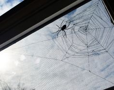 spider and web embroidered on window screen by Tania of Myrtle & Eunice (oct 12, 2011)