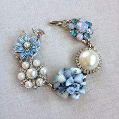 Powder blue bridesmaid bracelets, Vintage Earring Bracelets, rustic wedding, woodland, bridesmaid bracelets, bridesmaid jewelry, dusty blue