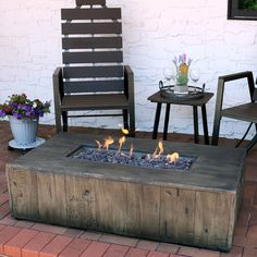 Rustic Faux Wood Propane Gas Fire Pit Table with Lava Rocks - Rectangular - Sunnydaze Decor Fire Pit Coffee Table, Gas Fire Pit Table, Fire Pit Uses, Fire Pits, O Gas, Concrete Wood, Rustic Centerpieces, Outdoor Furniture Sets, Outdoor Decor