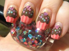 Here we have 15 cute cupcake nail art tutorials for you to paint those yummy cupcakes onto your nails. Get Nails, Love Nails, Pink Nails, How To Do Nails, Pretty Nails, Hair And Nails, White Nail Polish, Nail Polish Art, Cupcake Nail Art