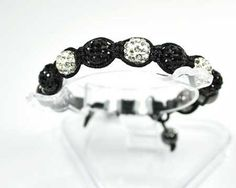 Bracelet shamballa-shambala-7 perles boules strass diamant noir-hématite