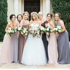Different color bridesmaid dresses - I like this idea