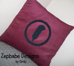 Led Zeppelin RP Dark Red Pillow Case 12x12     $25   Corduroy Fabric with iron on applique symbols https://www.learn2sewflorida.com/Zepbabe_Designs.html