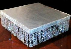 "14"" Square Crystal Wedding Decorative Cake Base 7'' H Diamond Cut Beads | eBay"
