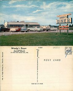 Woodys Diner postcard.  9015-028-000 #5537.  From the George and Irene Caley Postcard collection donated to the Delaware Public Archives.  www.archives.delaware.gov