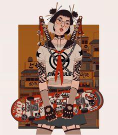 Mau Lencinas aka obviously has a lot of love for Japanese … - Art Creation Japon Illustration, Streetwear Mode, Animes Wallpapers, Japan Art, Character Design Inspiration, Character Illustration, Cute Art, Art Inspo, New Art