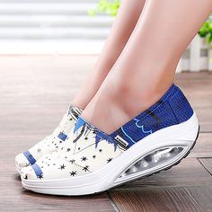 2016 Women Shoes Wedge Gingham Canvas Bodybuilding Shoes Platform Health Lose Weight Women Casual Shoes Fitness  Feminino
