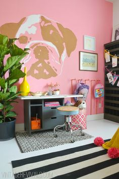 Pink Wall Little Girls Room @vintage revivals