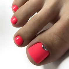 farbe Matte Pink Nails with Glitter Accent ★ Explore trend. Matte Pink Nails with Glitter Accent ★ Explore trendy and classy, cute and elegant toe nails designs for summer and beach vacation. You will love our easy ideas. Cute Nail Colors, Toe Nail Color, Nail Polish Colors, Bright Colors, Pedicure Designs, Manicure E Pedicure, Toe Nail Designs, Nails Design, Pretty Toe Nails