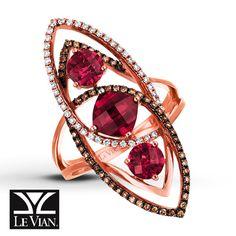 LeVian Garnet Ring 3/8 ct tw Diamonds 14K Strawberry Gold