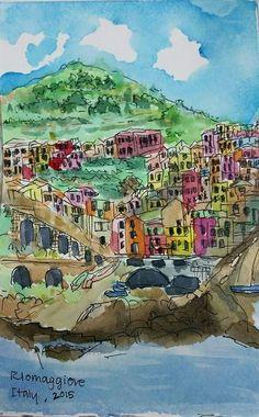 Riomaggiore - Cinque Terre, Italy , watercolor sketch by Noot