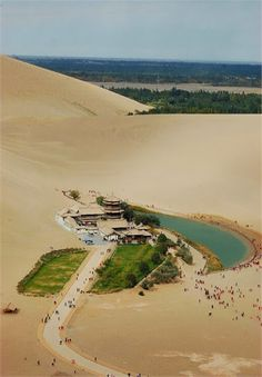 Crescent Lake, an oasis in the Gobi desert, China Desert Life, Desert Oasis, Travel Around The World, Around The Worlds, Crescent Lake, Dunhuang, Small Lake, Sunset Wallpaper, Lake Water