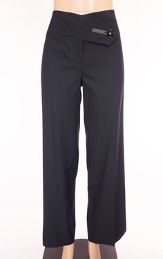 COP COPINE Dress Pants L Large 42 Black Gray Pinstripe Flat Front Wide Leg Work #CopCopine #DressPants
