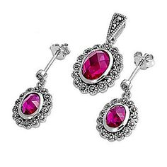 Tivonia: Oval Cushion Cut Burmese Ruby & Marcasite Gift Set