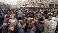 The first McDonald's restaurant in the Soviet Union, Pushkin Square, Moscow, Jan 31 1990