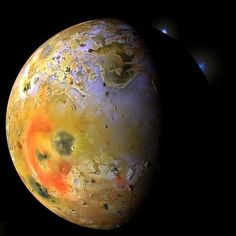 This view of Jupiter's moon Io was captured by NASA's Galileo spacecraft. Slightly larger than Earth's moon, Io is the most volcanically active body in the solar system. Credit: NASA/JPL/University of. Cosmos, Jupiter Y Saturno, Les Satellites, Jupiter Moons, Planets And Moons, Nasa Images, Space And Astronomy, Outer Space, Milky Way