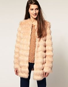 ASOS Stripe Faux Fur Coat - StyleSays