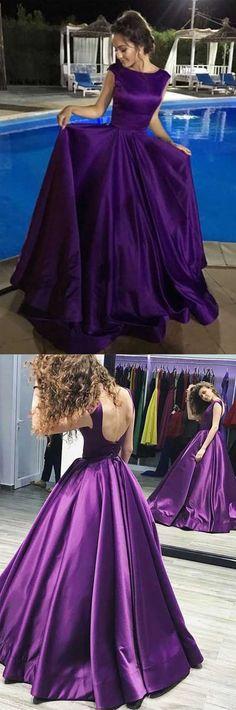 Ball Gown V-Neck Sweep Train Satin Sleeveless Backless Prom Dress PG482 #promdress #eveningdress #party #dress #fashion