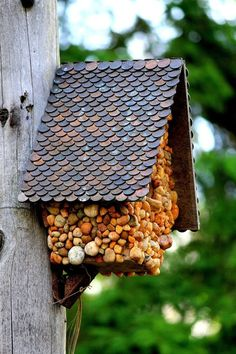 Our DIY birdhouse ideas will add color to your yard and provide a safe haven for the friendly. These DIY birdhouse designs are bird-friendly. Bird Houses Diy, Fairy Houses, Homemade Bird Houses, Garden Crafts, Garden Projects, Diy Projects, Garden Ideas, Birdhouse Designs, Diy Birdhouse