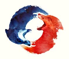 Ying Yang by Robert Farkas  Wolf and Fox - like the two side of coin