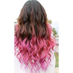 Just The Tip ❤ liked on Polyvore featuring beauty products, haircare, hair and pink hair