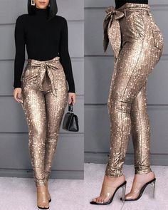 Glitter Sequins Belted Skinny Pants Style:Fashion Pattern Type:Sequins Material:Polyester Length:Long Occasion:Casual Package Note: There might be difference according to manual measurement. Please check the measu… Trend Fashion, Fashion Outfits, Style Fashion, Punk Fashion, Lolita Fashion, Fashion 2020, Fashion Pants, Spring Fashion, Fashion Pattern