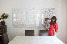 polka dot potato print backdrop. use wrapping paper in large cheap frames. cheap art.