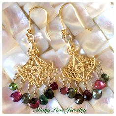 Vermeil Filigree Love Chandelier Earrings with Tourmaline Drops. $30.00, via Etsy.