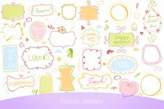 Cute Doodle pack ~~ Doodled frames clip art pack.  Set of 11 different doodle designs with subtle colours + white versions  Including many extra elements, you can add these extra elements to your creations for extra punch, if you wish.    Ideal for making your own tags, frames, l…