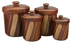 Shop Sango Avanti Brown Canisters - Set of 4 - Food Storage